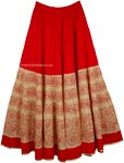 Thunderbird Red Cotton Full Long Skirt