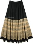 Black Khaki Long Summer Full Tiered Skirt