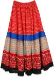 Full Sweep Red Printed Maxi Cotton Skirt
