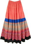 Vivid Tangerine Tiered Summer Maxi Skirt