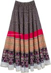Navy Seal Cotton Printed Long Skirt