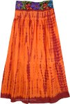 Burning Orange Embroidered Tie Dye Skirt