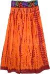 Burning Orange Embroidered Tie Dye Skirt
