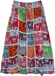 Artistically Inspired Elephant Patchwork Tribal Skirt