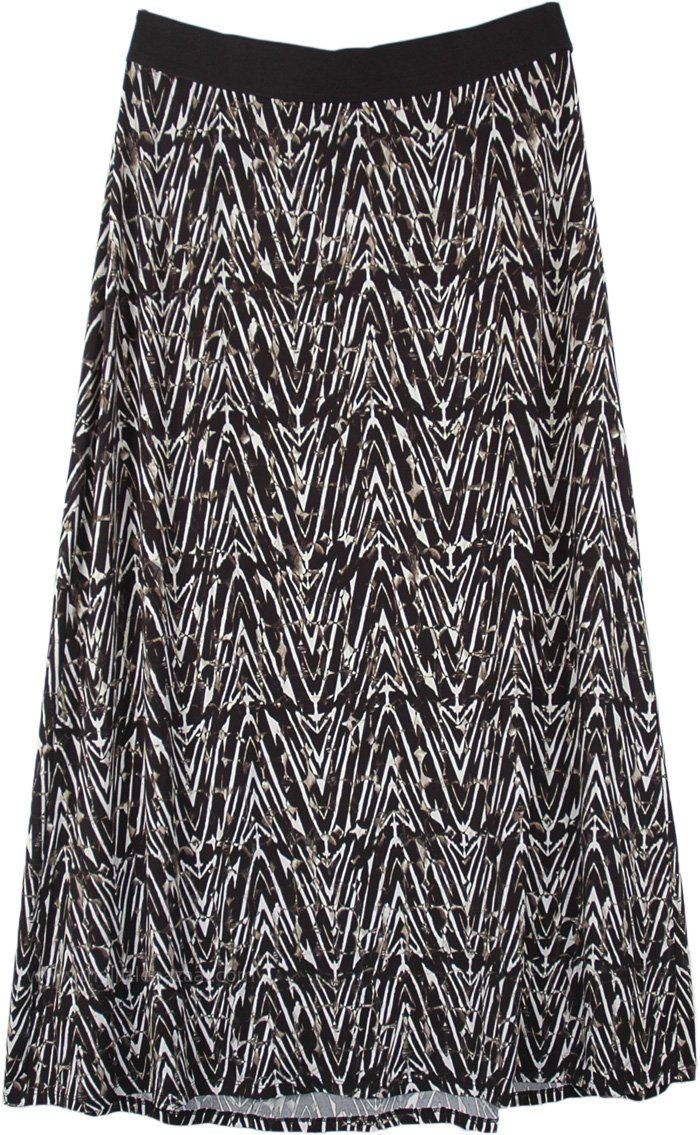 Modern Contrast Printed A Line Long Maxi Skirt