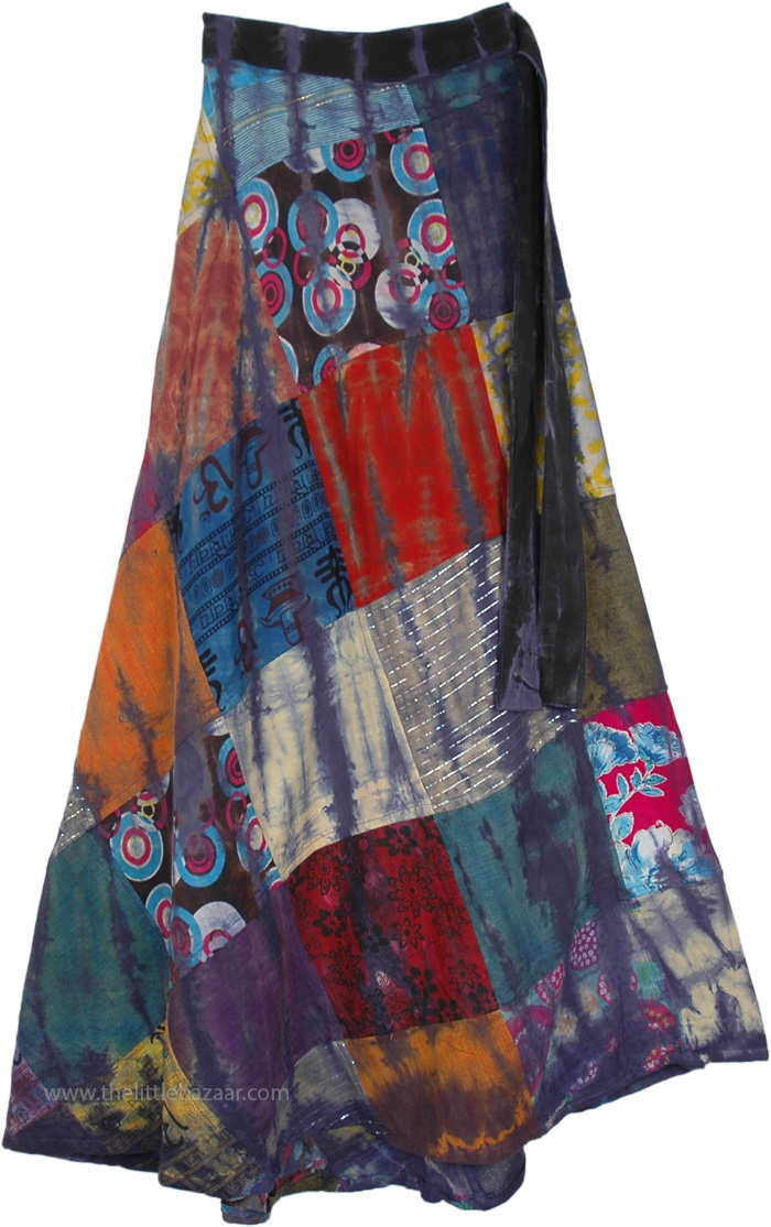 Mystic Mojo Wrap Around Patchwork Skirt