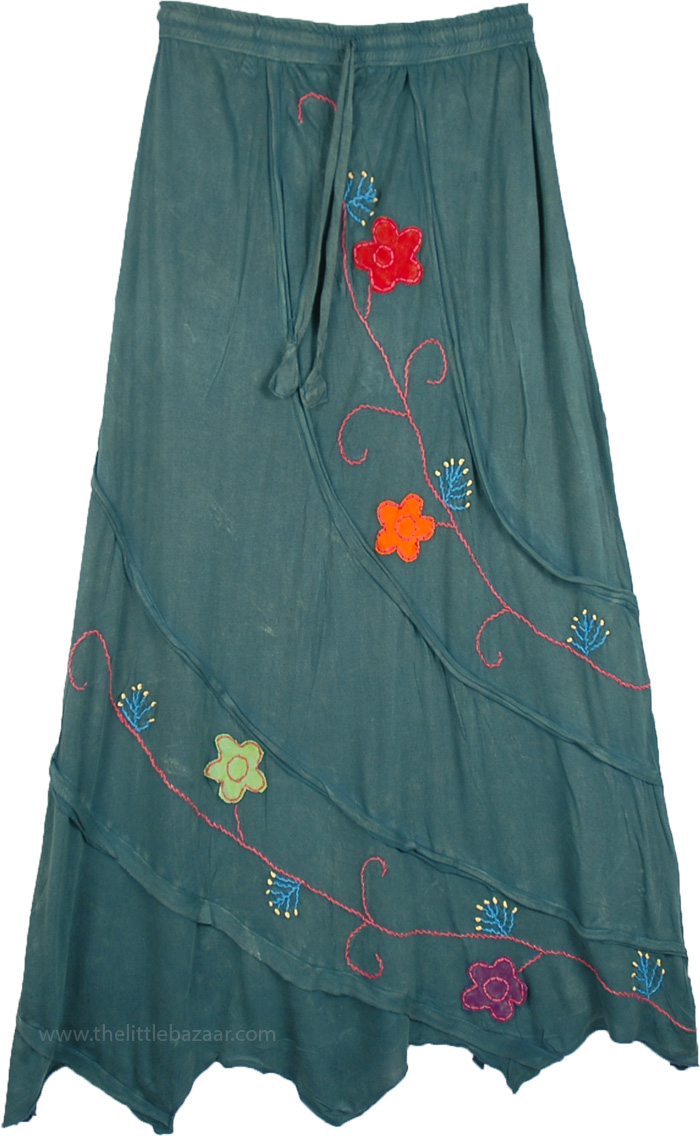 Groovy Teal Green Floral Hippie Skirt