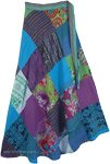 Rhythmic Hippie Floral Patchwork Skirt in Cool Tones