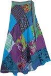 Rhythmic Hippie Floral Patchwork Skirt in Cool Tones