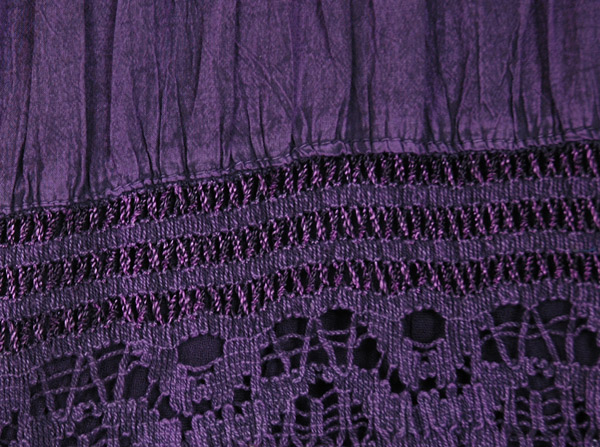 Mauve Mid Length Skirt with Crocheted Tiers
