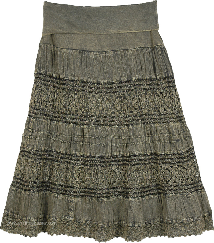 Flint Green Stonewashed Mid Length Crochet Lace Skirt