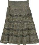 Flint Green Stonewashed Mid Length Crochet Lace Skirt