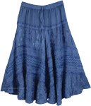 Midi Length Blue Gypsy Skirt Rayon Embroidered