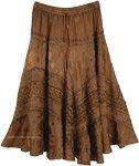 Old Copper Midi Length Western Womens Skirt