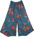 Blumine Floral Print Wide Leg Pants with Pockets