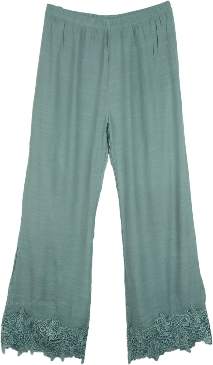 Sea Nymph Green Pants with Lace Trim
