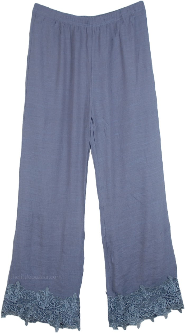 Pants with Lace Bottom in Waterloo Grey