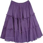 Bliss Cotton Purple Tiered Cotton Skirt