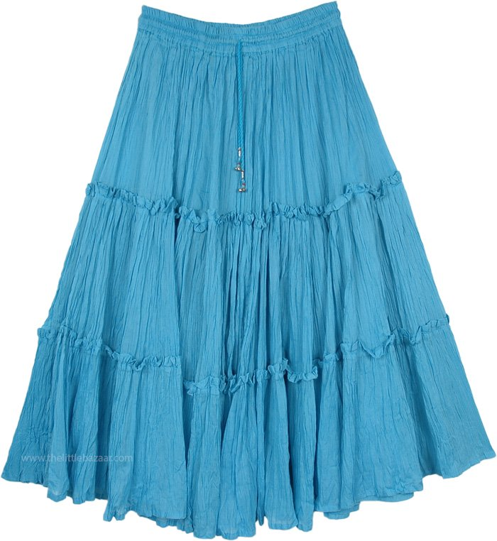 Dodger Blue Full Circle Tiered Gypsy Skirt