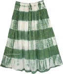 Green White Tie Dye Skirt with Tinsel Accents