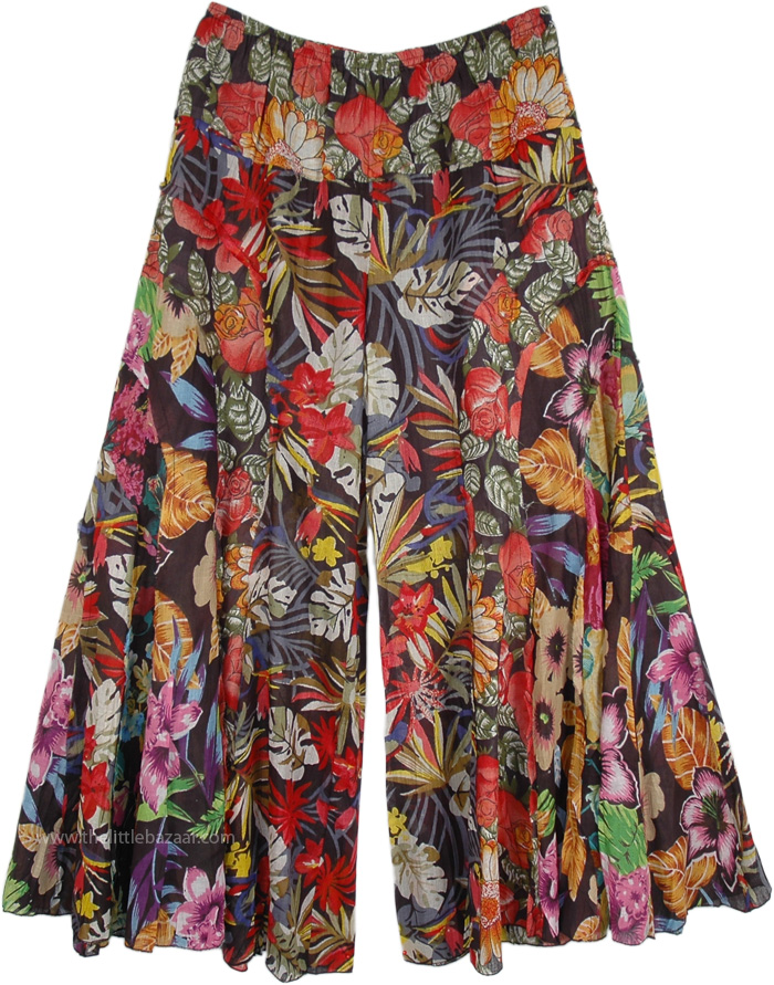 Gypsy Floral Cotton Pants Divided Skirt