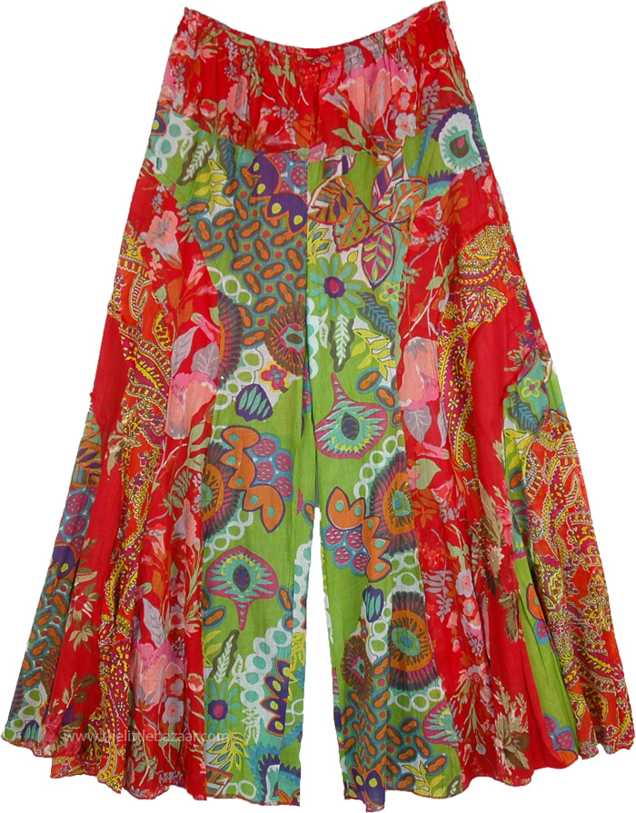 Boho Mexican Hippie Colorful Wide Legs Pants