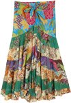 Multicolored Upcycled Floral Patchwork Skirt with Tie-Up Waist