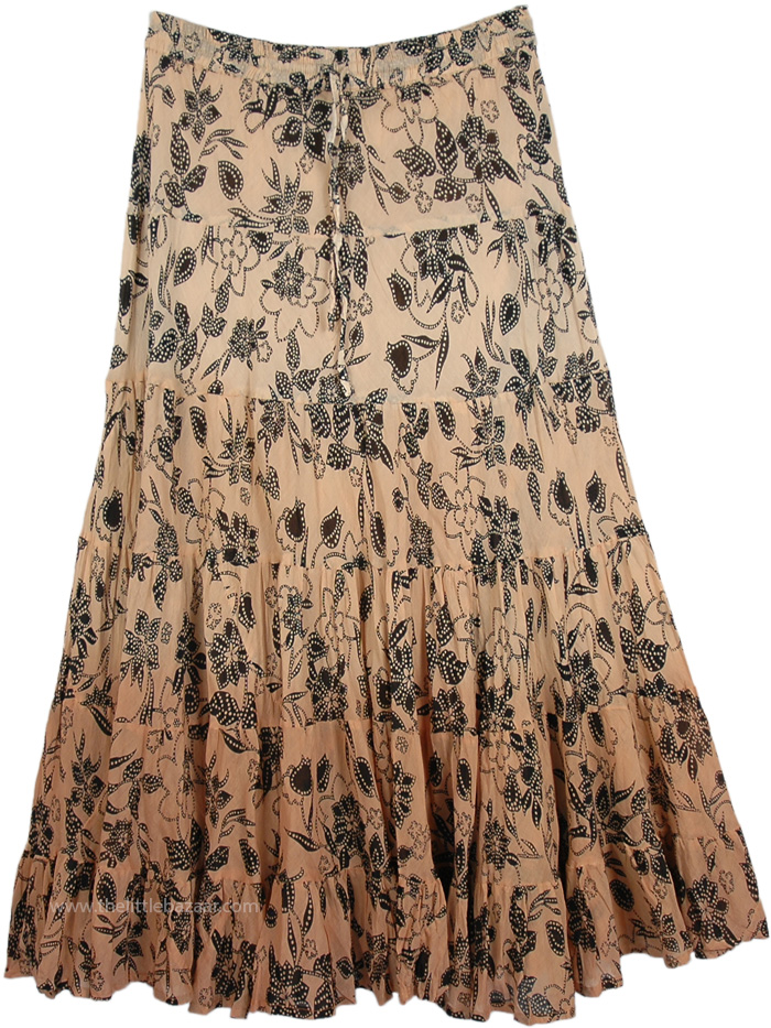 Browny Peach Cotton Maxi Skirt