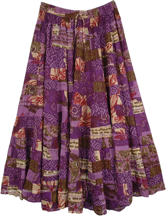 Lavandula Floral Cotton Tiered Maxi Skirt