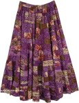 Lavandula Floral Cotton Tiered Maxi Skirt