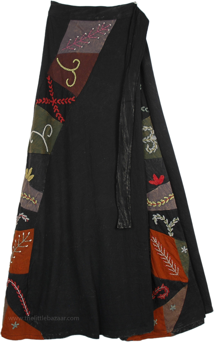 Voodoo Spell Dark Black Wrap Around Skirt
