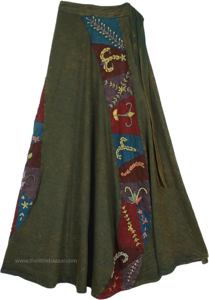 Dusky Olive Green Boho Skirt with Embroidered Patches