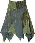 Asymmetrical Cotton Light Summer Skirt in Hippie Green
