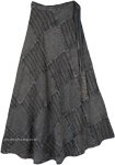 Dove Gray Cotton Long Boho Wrapper Skirt