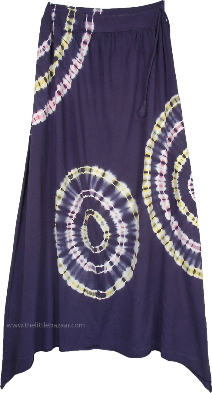 Berry Blue Maxi Skirt with Concentric Circle Tie Dye Patterns