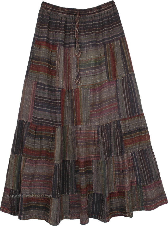 Striped Patchwork Long Skirt in Cotton Seersucker Fabric
