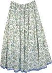 Hydrangea Blue Cotton Summer Long Skirt