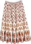 Floral and Paisley White Printed Summer Boho Skirt