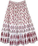 Ethnic White Tiered Cotton Skirt with Paisley and Floral Print