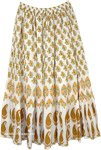 Long White Skirt with Mango Brown Botanical Design