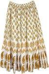 Long White Skirt with Mango Brown Botanical Design