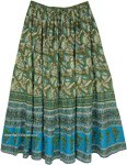 Rafflesia Floral Boho Maxi Skirt in Olive Green and Blue