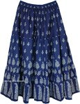 Cobalt Blue Maxi Skirt with Floral Block Print