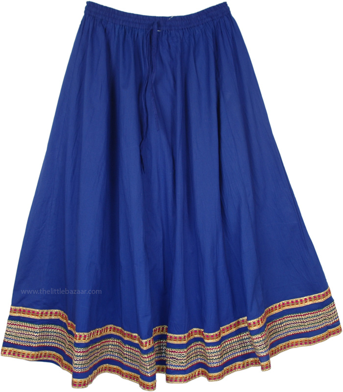 Bright Blue Eastern Long Skirt with Decorative Trim