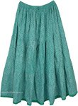 Tiered Skirt in Fern Green with Floral Designs