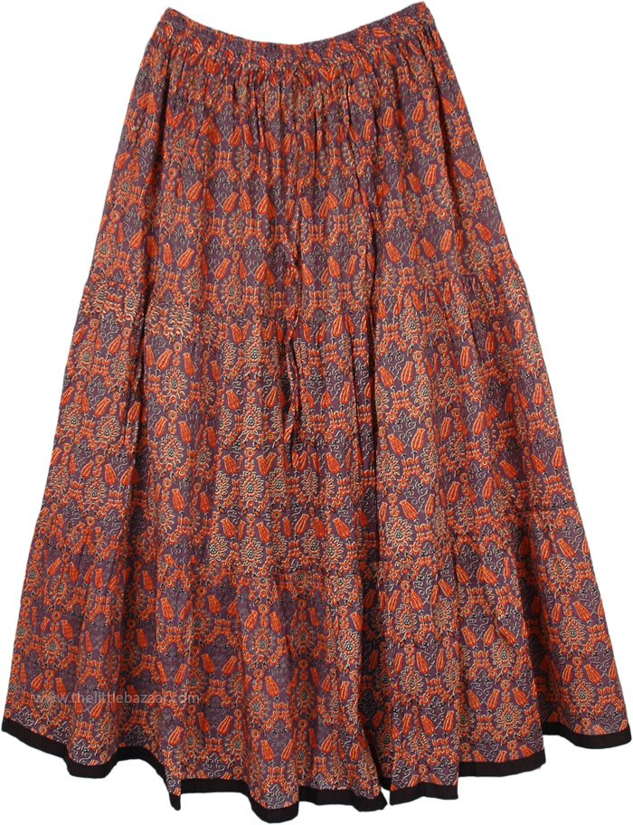 Peasant Style Long Summer Skirt in Cotton Printed