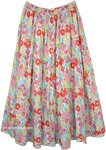 Soft-Shaded Multicolor Floral Long Tiered Skirt