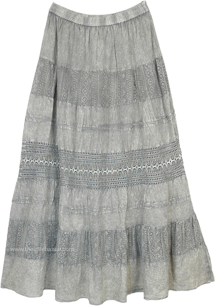 Platinum Maxi Skirt with Crochet and Stonewash Look