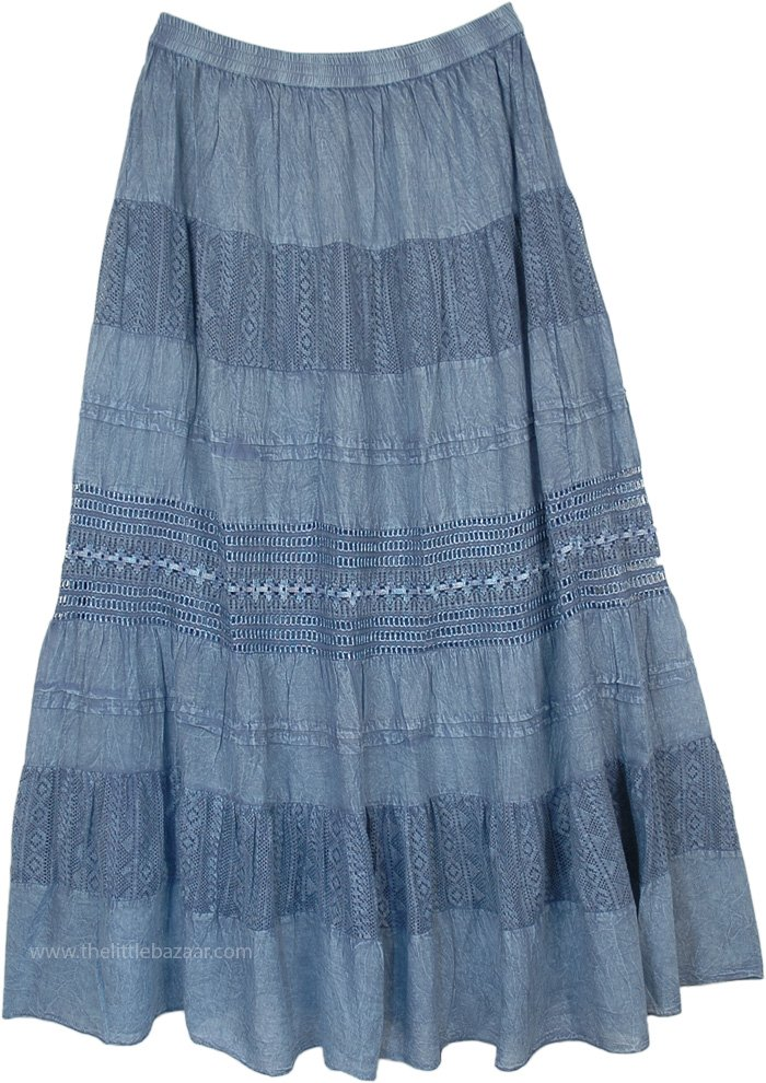 Stonewashed Mist Blue Maxi Boho Skirt