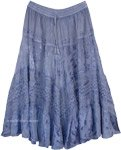 Steel Blue Blush Skirt with Medieval Charm
